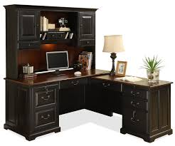 l shape computer workstation desk with hutch by riverside