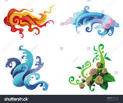 four elements nature fire air water stock vector 90427462