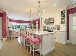 pink and grey kitchen decor range hood cooktop framed doors and