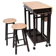 table with 2 stools amazon com giantex 3pcs wood kitchen rolling casters fold table