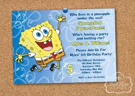 Invitation Card 7th Birthday Boy Spongebob Party Invitations Theruntime Com