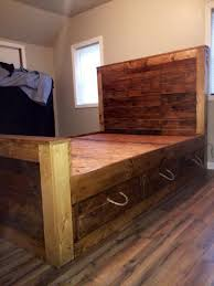 Bed With Storage In Headboard Pallet Bed And Headboard With Storage Pallet Furniture Diy