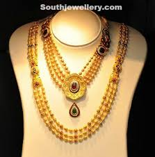 long gold beads necklace images Gold beaded necklace and long chain jewellery designs jpg