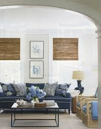 Fridays Favourites Navy And Neutral Bamboo Roman Shades - Cottage living room paint colors