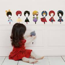 dolls fabric wall stickers adolie day for chocovenyl dolls wall stickers snow white fairy ballerina princess mouse girl