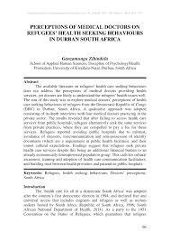 Seeking Durban Perceptions Of Doctors On Refugees Health Seeking