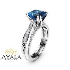london blue topaz engagement ring topaz engagement ring 14k white gold engagement ring
