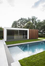 pool house garage modern poolhouse in crépi met hout bogarden architecture