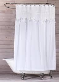 White Shower Curtain Vintage Crochet Shower Curtain