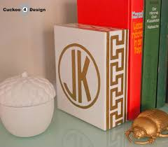 monogram bookends gold monogrammed key bookend cuckoo4design