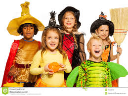 close shoot of five kids in halloween costumes stock photo image