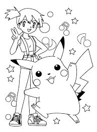 pokemon coloring pages misty misty and pikachu coloring page coloring pages for later