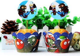 Plants Vs Zombies Cake Decorations Plants Vs Zombies Cupcake Wrappers Decoration Birthday Party