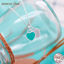 sted necklaces dower me s925 sterling silver enamel powder blue pink heart