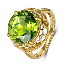 rings beautiful images 18k yellow gold ring with 8 76 ct beautiful genuine peridot gem jpg