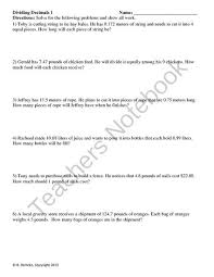 dividing decimals word problems 2 worksheets from reincke15 on
