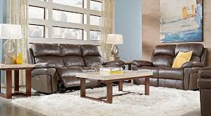 chocolate living room trevino chocolate leather 5 pc living room with reclining sofa