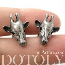 giraffe earrings miniature realistic giraffe animal stud earrings in silver