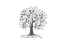 stylized oak tree with roots retro illustrations creative market