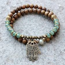 handmade bracelet with beads images 2016 boho summer hamsa bracelet wooden beads and healing crystals png