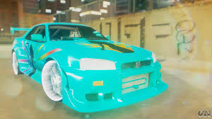 nissan skyline r34 custom nissan skyline gt r r34 cyan edition 2001 for gta san andreas