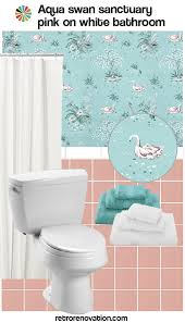 Teal Bathroom Ideas 15 Ideas To Decorate A Pink And White Bathroom Retro Renovation