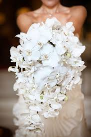 White Wedding Bouquets Cascading Teardrop Bouquets Wedding Flair