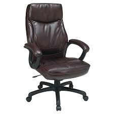 High Back Leather Armchair Office Star Products Work Smart Executive High Back Eco Leather
