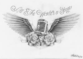 wings microphone sketch best tattoo designs