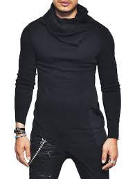 cowl sweater cowl neck asymmetrical sweater in black l sammydress com
