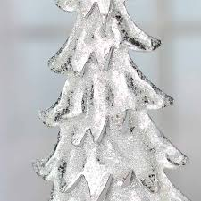 sparkling snowy silver tin tree ornament