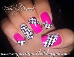 my pretty nailz houndstooth pattern and pink nail art design