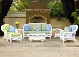 White Wicker Outdoor Patio Furniture - exterior black cape may wicker with cushions and side table on