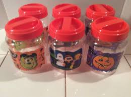 canisters kitchen kitchenware collectibles halloween canisters containers plastic set of 6 screw top fun festive prints