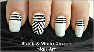 easy black and white stripes nail art for beginners youtube
