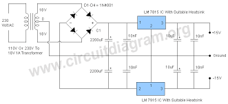 15v dual power supply regulated circuit diagram