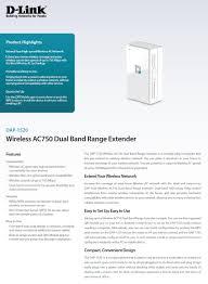 d link dap 1520 wireless ac750 dual band range extender dap 1520