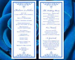make your own wedding programs royal blue program etsy