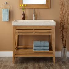 untreated teak wood trough sink vanity bathroom and round metal