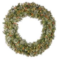 inch wintry pine lighted artificial wreath