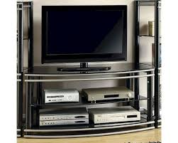 Wall Units For Flat Screen Tv Coaster Wall Units Black U0026 Silver Finish Curved Tv Stand Co 700722