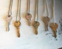 vintage key necklace images Stamped key necklace etsy jpg