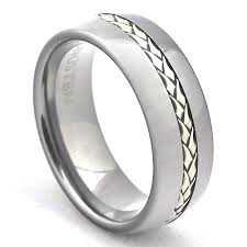 braided band tungsten carbide wedding band sterling silver braided inlay