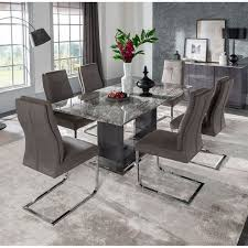 Donatella Grey Marble Dining Table