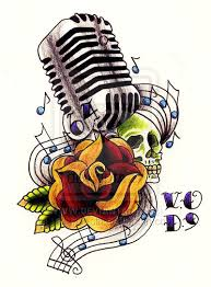 old style microphone tattoo art 50 u0027s mic ft rose and skull by