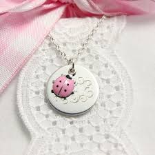 personalized picture necklaces pink ladybug personalized necklaces for toddlers and children