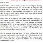 resignation letter from hospital staff letter of resignation