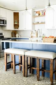 two tone kitchen cabinets and island blue white two tone kitchen reveal houseful of handmade