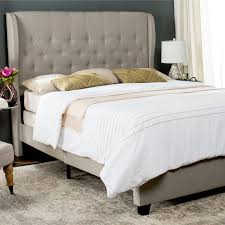Tufted Headboard King Bedroom Taupe Linen Upholstered Button Tufted Headboard King Bed