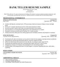 Bank Teller Skills For Resume Merchant Teller Cover Letter